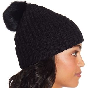 Michael Kors Faux Fur Wool Blend Pompom Beanie Hat